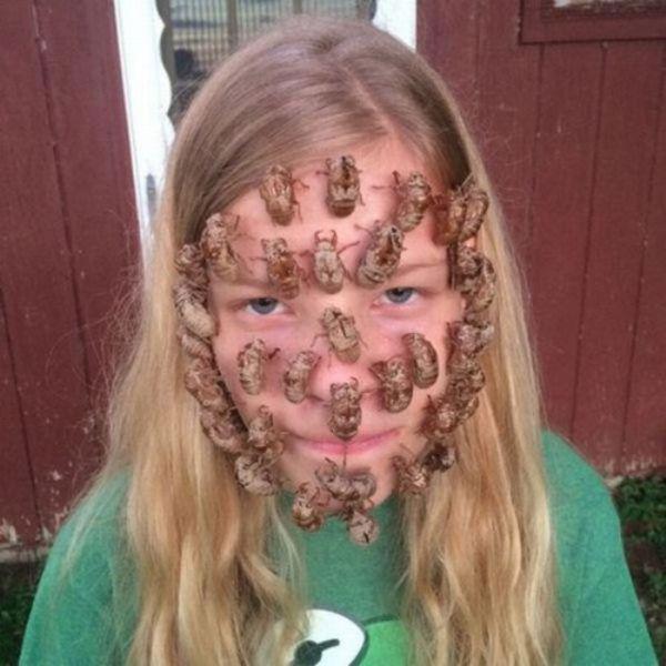 Yüzüne Böcek Yapıştırmış Kız Çocuğu