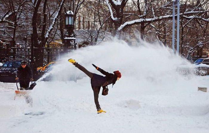 karda kayan kadın