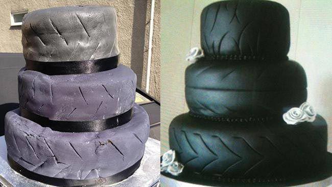 Araba lastiği şeklinde düğün pastası