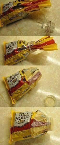 Plastik kola şişesi ile kolayca paketlerinizin ağzını kapatın