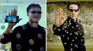 Matrix takiti yapmaya çalışan zavallı adam