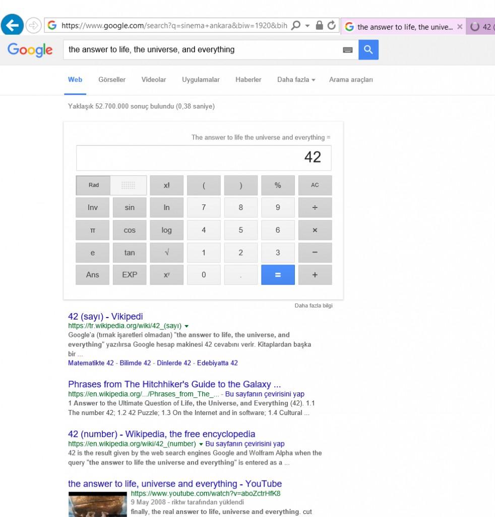 Evreni ve Hayatı Sorguladığınız da Google 42 Cevabını veriyor