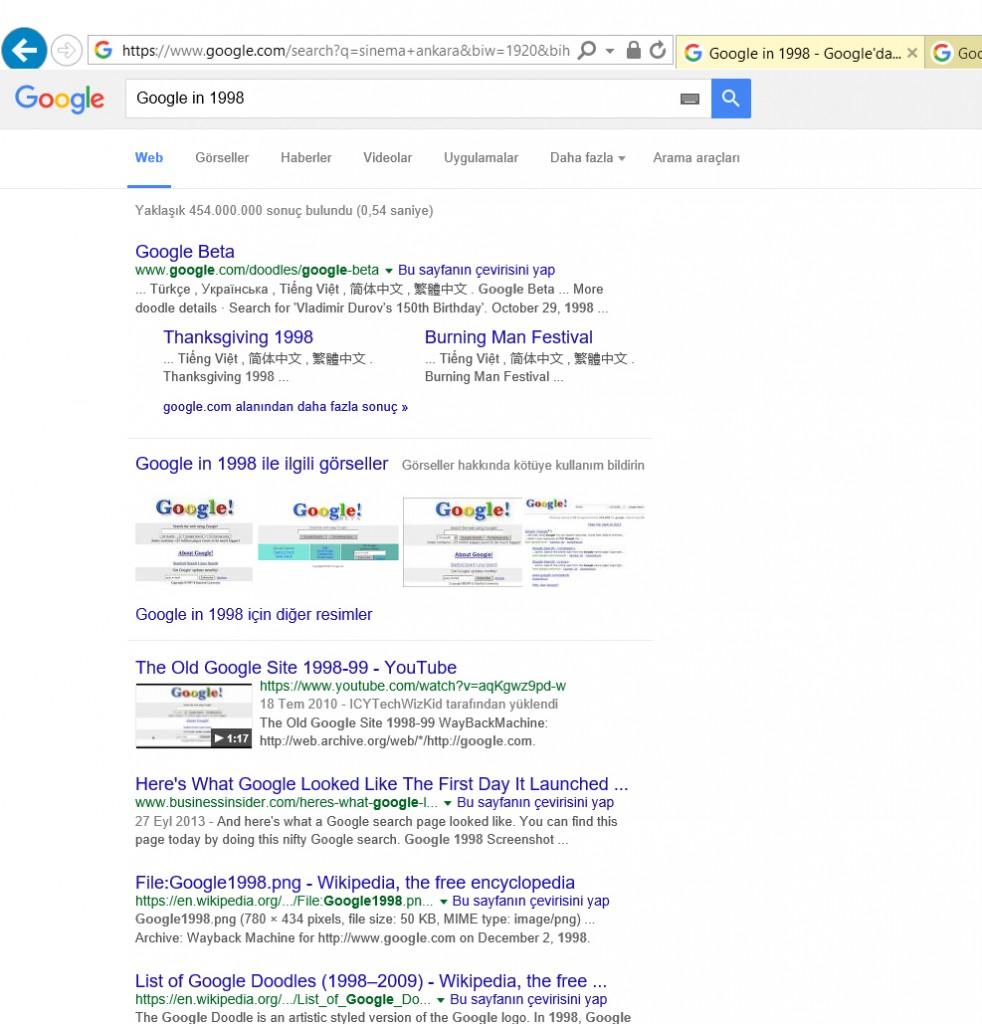 Google'da geriye gidebiliyorsunuz.