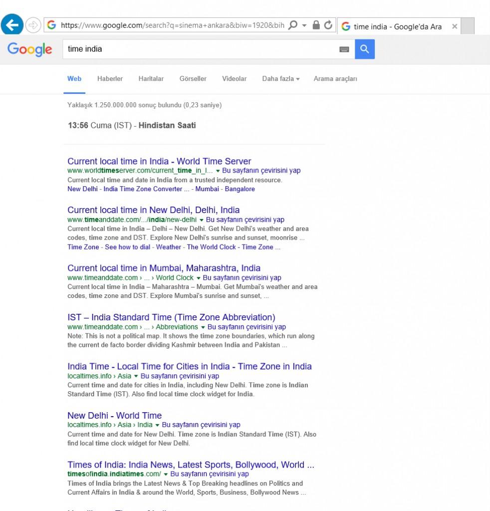 Google Şehirlerin ve Ülkelerin Saatlerini bildiriyor.