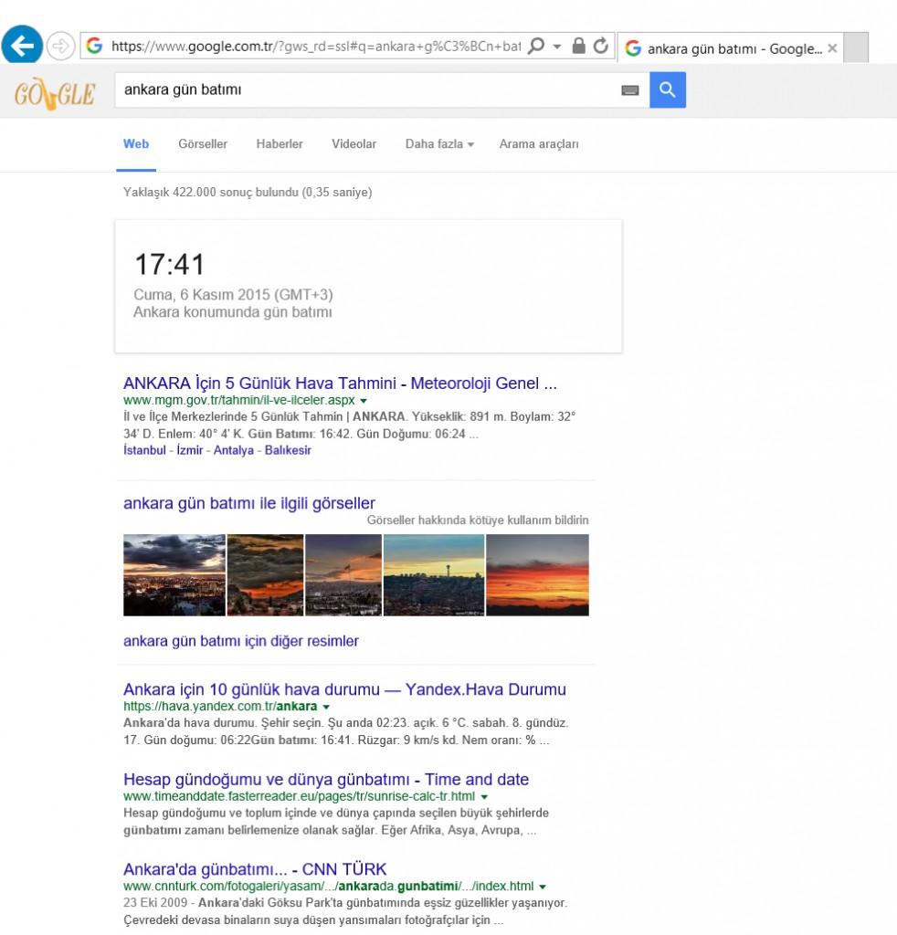 Google Şehirlerin Gün Batımı ve Gün Doğumu Saatlerini Veriyor