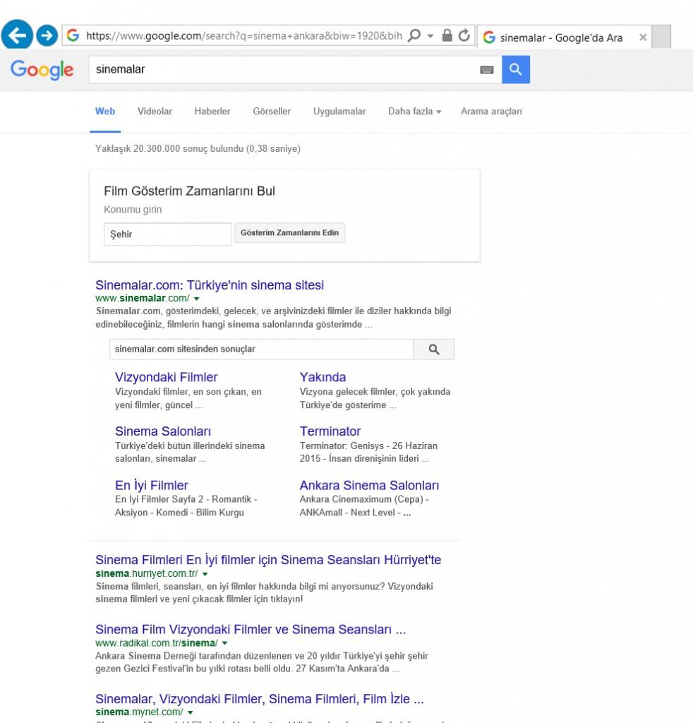 Google Sinema Bilgileri Veriyor