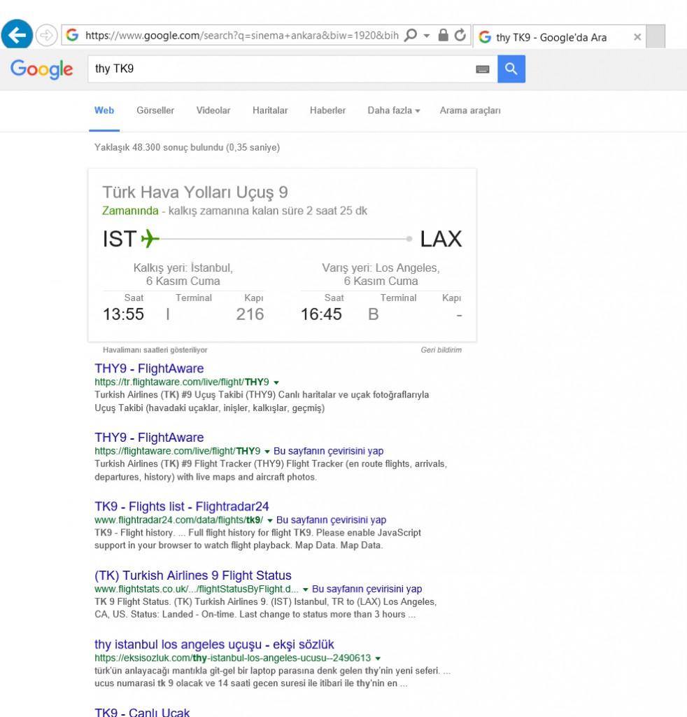 Google Uçuş Bilgileri Veriyor