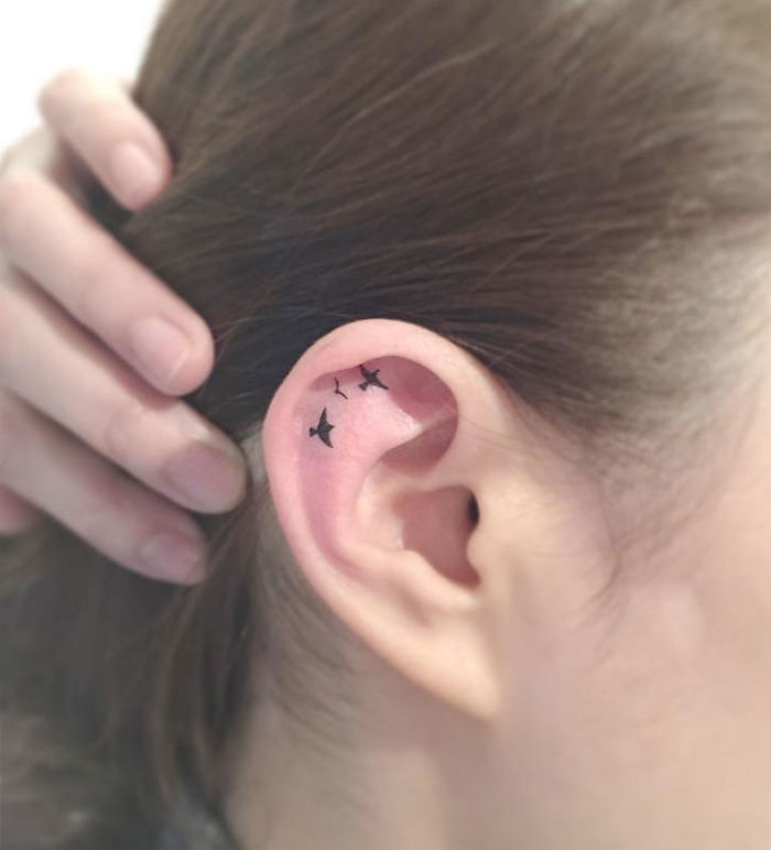 Kulak İçerisine Kuş Şekilleriyle Dövme