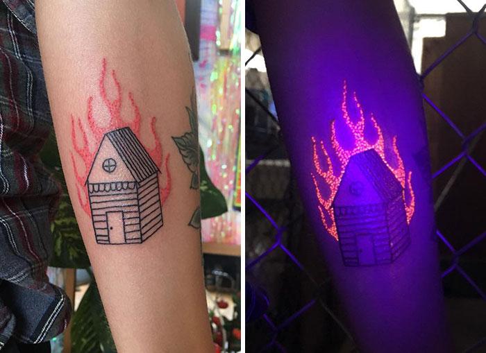 yanan ev dövmesi uv